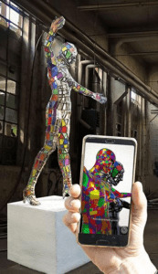 """Caddelle's extended reality sculpture """"All embracing"""" explores the tactile and intangible presence through the use of an App."""